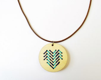 Embroidery Necklace, Wooden Pendant Necklace, Hand Embroidered Pendant, Blue Navy, Abstract Modern Gifts Stockings Cross Stitch Heart