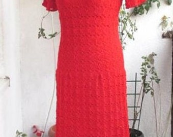 Christmas Dress  Crochet Dress  Red dress  Elegant dress Crochet Lace Dress