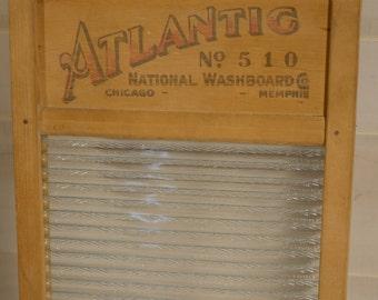 Atlantic National Washboard, Antique, Vintage Decor, No. 510, Glass Washboard