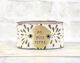 Leather Cuff - Boho Jewelry - Leather Bracelet - Custom Stamped Jewelry - Metal Stamped Jewelry - Womens Jewelry - Hand Stamped - Bohemian