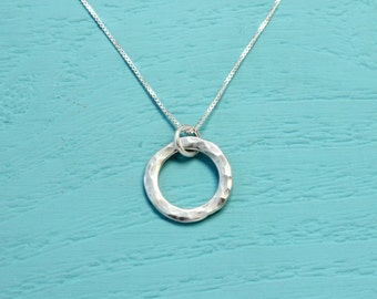 Eternity necklace, sterling silver, handmade necklace, circle of love, love necklace, eternity circle, artisan silver necklace