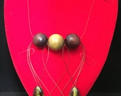 Hearts and Teardrops necklace and earrings set  African Elegance in wood and glass beads