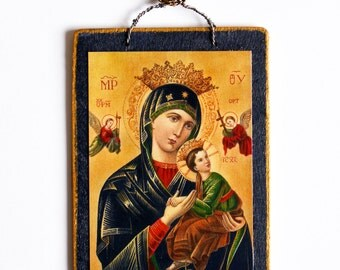 Mother of Perpetual Help Icon, Mini Icon, Virgin Mary, Mary and Jesus, Holy Card, Perpetual Help Icon, Blessed Mother, Catholic Icon