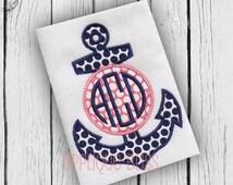 Monogram Anchor Digital Applique Design - Nautical - Sailing - Boating - Monogram - Machine Embroidery - Anchor Applique Design