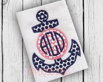 Monogram Anchor Digital Applique Design - Nautical - Sailing - Boating - Monogram - Machine Embroidery - Anchor Applique Design