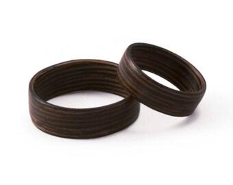 Wood Ring Set - Wenge Rings - Bentwood Ring set, Bent wood Rings, Wood Wedding Rings, Wood Engagement Rings, Wooden Ring Set