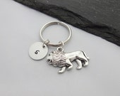 Initial Lion Keyring Hand Stamped Keyring Lion Keyring Animal keyring Charm Keyring Lion Keychain Personalised Keyring Lion Gift