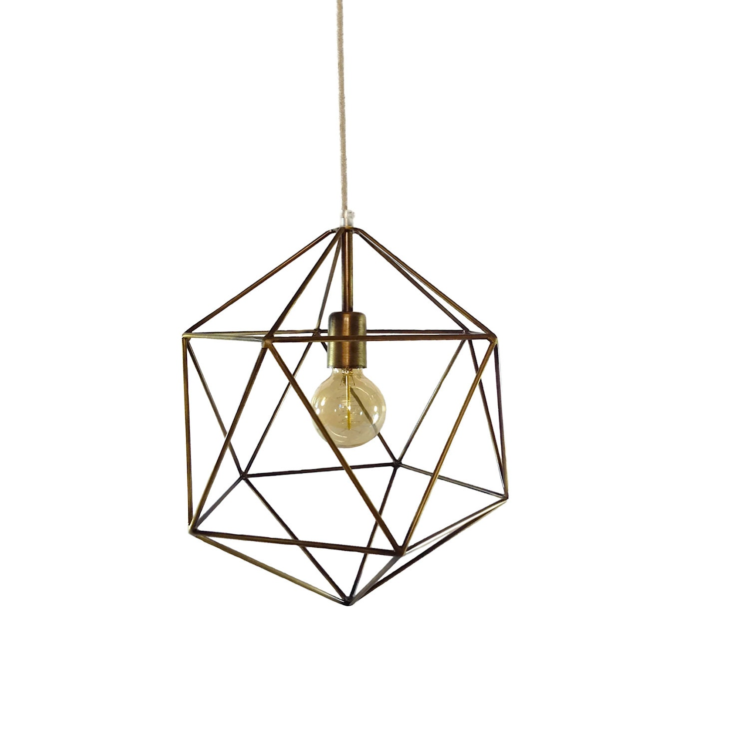 Bronze Geometric Pendant Light Handmade Hanging Light Cage