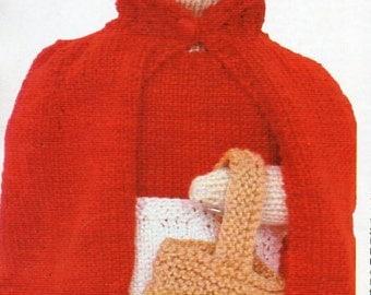 "red riding hood rag doll knitting pattern pdf fairy tale knitted doll knitted toy pattern 14"" 4 ply sock pdf instant download"