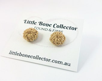 Gold Sparkle crochet button earrings, Surgical steel studs - Glue free