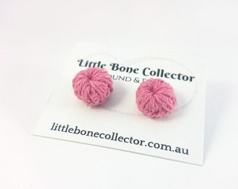 Rose Pink crochet button earrings, Surgical steel studs - Glue free