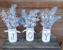 Gorgeous JOY stenciled Mason jars!  Silver and Blue tones!