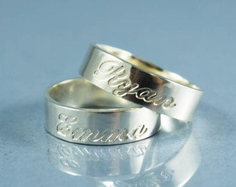 Personalized Ring Silver, Custom Ring Silver, Personalized Band Ring, Silver Custom Name Ring, Engraved Ring Silver, Engravable Ring