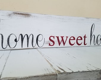 home sweet home sign- rustic wood sign, distressed home sweet home, rustic home decor, wall art, housewarming gift, home sign, country decor