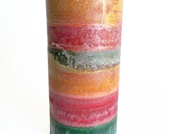Organic Palm Pillar Candle- Natural Candles- Tropical Paradise Decor Candle- Mango Papaya Candle- Vegan Candles- Holiday Gift Ideas