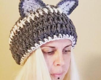 Crochet Kitty Hat | Cat Ear Hat | Slouchy Cat Hat | Kitty Ears