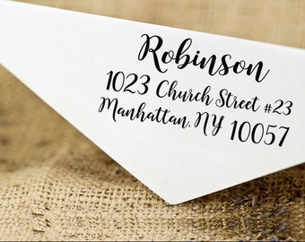 Custom Rubber Stamp, Custom Family Address Stamp, Self Inking Return Address Stamp, Calligraphy Stamp, Personalized Address Stamp HS203P