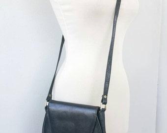 Vintage leather bag Black retro crossbody bag Long strap small bag Womens handbag Retro shoulder bag Mid century modern