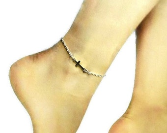 Sideways cross chain anklet - Cross anklet - Faith Chain anklet - Cross charm anklet - Silver Anklet - ankle bracelet - christian anklet