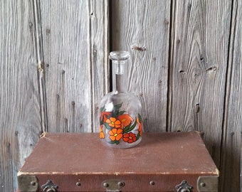 Funky 1960s French Vintage Carafe  -  French Vintage Flower Power Glass Carafe with Glass Stopper