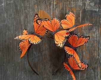 Tangerine Dream Monarch Butterfly Crown Fascinator