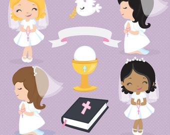 First Communion clipart, Religious clipart, Cute Communion Girls clipart, cross clipart, bible clipart, Commercial License Included