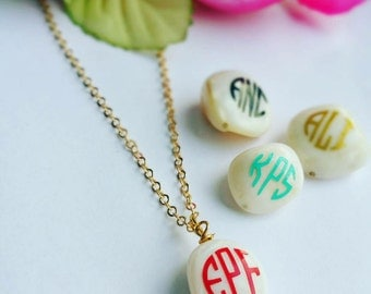 Monogram Necklace, personalized gift, initial monogram necklace , bridesmaid gift, Valentines gift, Name necklace, Bridesmaid Gift Necklace