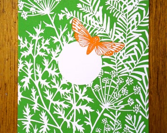 Greetingcard orange butterfly