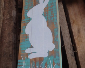 Rabbit silhouette hand painted sign