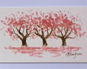 Little Pink Blossom Trees - original miniature watercolour painting