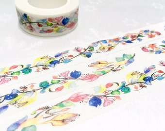 Pretty flower washi masking tape 10M  watercolor flower sticker tape garden flower colorful flower garden planner sticker gift flower decor