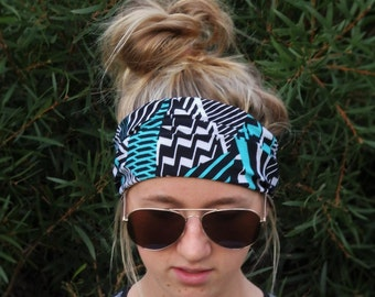 Stretch Head Band; Yoga; Sport Workout Headband; Blue Black and White Geometric Pattern