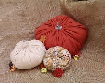 Fabric Pumpkins, Harvest Decor, Thanksgiving Decor, Pumpkin Decor, Thanksgiving Pumpkin, Harvest Pumpkin, Stuffed Pumpkin, Plush Pumpkin