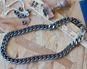 Silver link Necklace,Silver Necklace,Oxidized chain,rock,punk, Chain necklace,edgy,urban,goth,statement necklace,Gift for her,street fashion