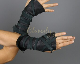 Black Fingerless Leather Gloves, Long / Wonder Woman Mad Max Barbarian Festival Tribal Costume Cosplay Post apocalyptic Warcraft Elf LARP
