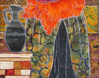 Stitched Original Hanging Art Unframed Female Woman with Baby Motherhood Fabric and Thread Collage Fuchsia Orange Green Gold Brick