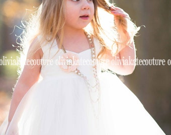 Flower Girl Dress, girls dress, tutu dress, tulle dress, ivory, flower girl, boutique dress, photo dress, birthday, baby, Tea Length