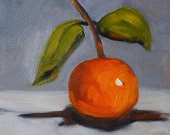 Tangerine Still Life, Original 6x6, Stretched Canvas, Orange Gray, Minimalist Fruit Art, Kitchen Wall Decor, Square, Tropical Fruit, Small
