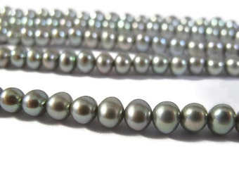 Iridescent Freshwater Pearls, Genuine Pearl Beads, 3.5-4.5mm Round Potato Pearls for Jewelry Making, 16 Inch Strand, 100 Pearls (P-P11)