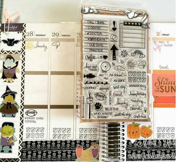 Calendar Sheet Rubber : Clear stamp set calendar planner rubber