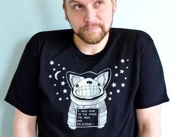 Astronaut Shirt, Space Tshirt, Moon Tshirt, Corgi Shirt, Corgi Gift - Space Teeth Unisex Men's Graphic Tee