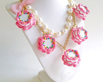 Pink Cake Necklace Cake Statement Necklace Marie Antoinette Statement Necklace Pastel Dessert Birthday Kawaii Mini Food Jewelry Pinup