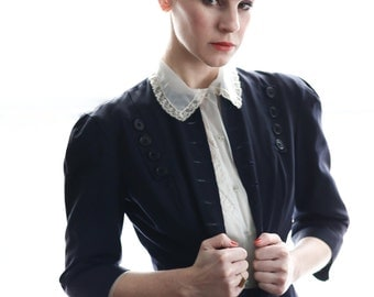SALE- Navy Two Piece Skirt Suit 1940s