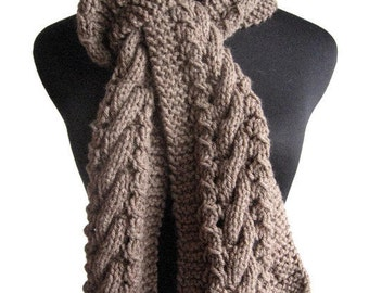 Taupe Hand Knit Scarf, Knit Mens Accessory, Heather Cable and Lace Taupe Scarf, Knitwear, Vegan Knits, Mens Scarf, Scarf Winter Scarf