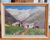 Midcentury Landscape Oil Painting Original Period Frame Mountainside Rustic Farm Cottages Appealing Color Palette Brushwork Circa 1950s