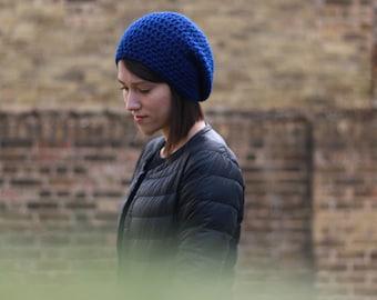Women's Slouchy Hat, Crochet Slouchy Hat, Women's Hat, Crochet Hat, Women's Accessories, Spring Fashion, Slouchy Beanie Hat, Navy