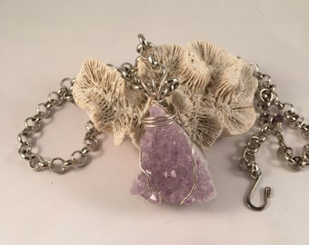 Amethyst Crystal Pendant Wrapped in Sterling Silver 1.5 Inches Long 1 Inch Wide on 24.5 Inch Long Silver Rolo Chain