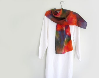 Hand-painted Silk Scarf,  Abstract , Multi-colored