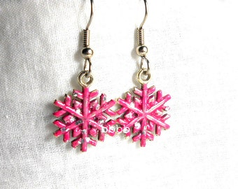 SALE Pink Snowflake Earrings Glitter Dangle Drop Fun Cute Shabby Surgical Steel French Hooks Christmas Winter Holiday