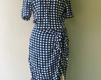 1990s Blue Checkered SUNFLOWER Dress